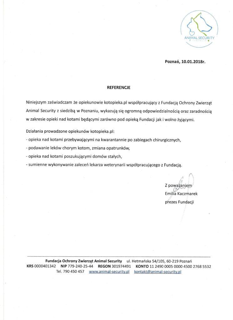 opieka nad kotami referencje kotopieka.pl animal security